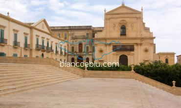 noto cathedral view with many steps
