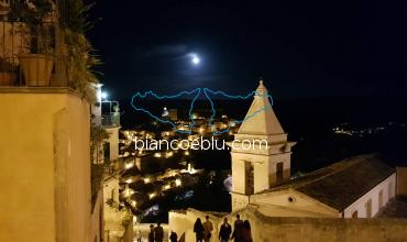 ragusa ibla night view from the steps of saint Mary church